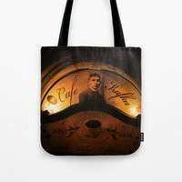 kafka Tote Bags featuring Cafe Kafka by Bella Blue Photography