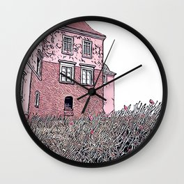 poppies in the castle digital drawing Wall Clock