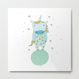 Starry Unicorn Metal Print