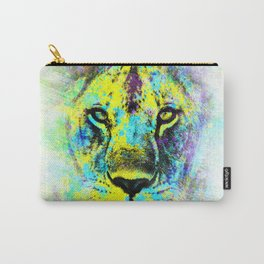 The proud face of a wild lioness. Digital artwork. Carry-All Pouch