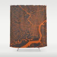 philadelphia Shower Curtains featuring Philadelphia 2 by Map Map Maps