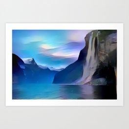 Minimalist Seven Sisters Waterfall Art Print