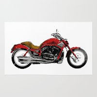 motorcycle Area & Throw Rugs featuring Motorcycle by magnez2