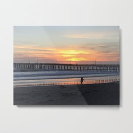 Cayucos Pier Sunset Metal Print