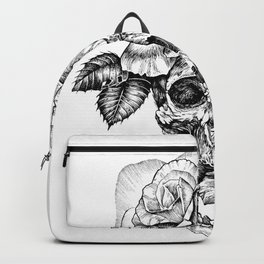 Black and White skull with roses pen drawing Backpack