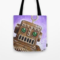 steam punk Tote Bags featuring i.Friend: Steam Punk Robot by CHRIS MASON