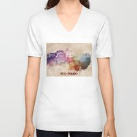 las vegas V-neck T-shirts featuring Las Vegas skyline art by jbjart