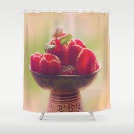 Raspberries fruit enjoyment Shower Curtain