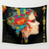 glitch Wall Tapestries featuring Glitch by Steve W Schwartz Art