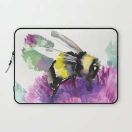 Bumblebee and Thistle Flower, honey bee floral Laptop Sleeve