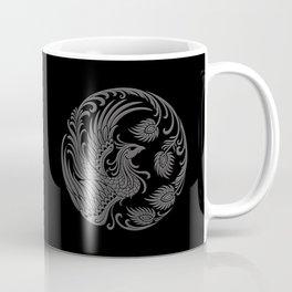Traditional Gray and Black Chinese Phoenix Circle Coffee Mug