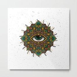 All Seeing Eye Mandala Metal Print