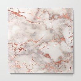Modern elegant faux rose gold pink marble Metal Print
