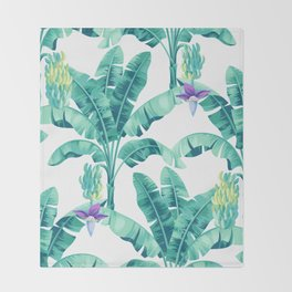Banana leaf bloom Throw Blanket