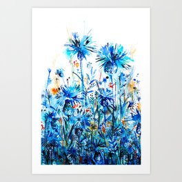 thickets of cornflowers Art Print