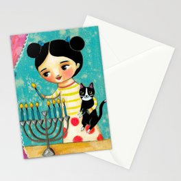 Menorah on Hanukkah Stationery Cards