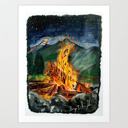 'Life Goals' Original Campfire Pastels Art - by Dark Mountain Arts Art Print