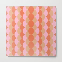 Abstract Floral Geometric Circles Pattern in Muted Orange and Pink Metal Print