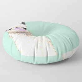 Bubble Gum Popped on Llama (1 in series of 3) Floor Pillow