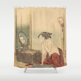 Hokusai, the toilet of a woman- manga, japan,hokusai,japanese,北斎,ミュージシャン Shower Curtain