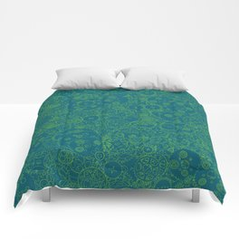 Clockwork Turquoise & Lime / Cogs and clockwork parts lineart pattern Comforters