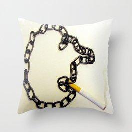 Chain Smoking Throw Pillow