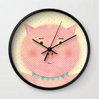 pooh Wall Clocks featuring Piggy Pooh by Silva Ware by Walter Silva