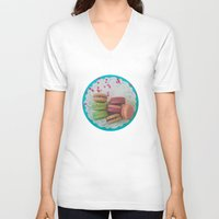 macarons V-neck T-shirts featuring Colorful Macarons by Jessica Torres Photography