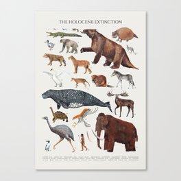 Animal chart of the Holocene extinction Canvas Print