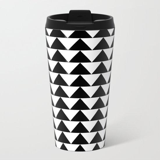 Black & White Triangles Metal Travel Mug