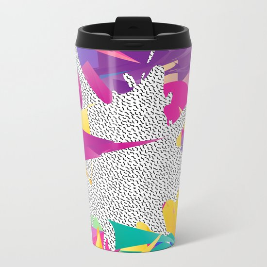80s Abstract Metal Travel Mug
