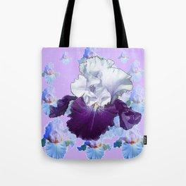 PURPLE IRIS BLUISH IRIS GARDEN MIRAGE  ABSTRACT Tote Bag
