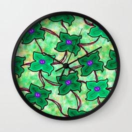 Fresh Floral: Green Wall Clock