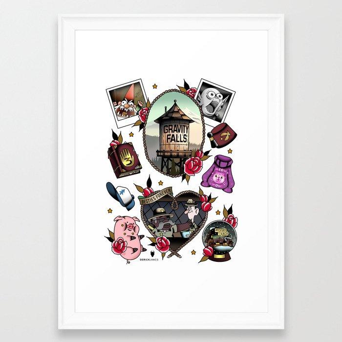 Gravity Falls Tattoos Framed Art Print by derickjames | Society6