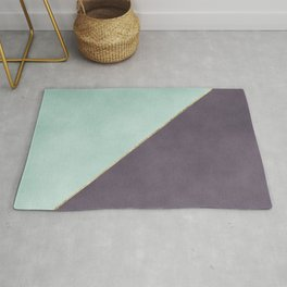 Modern abstract geometrical mint dark lavender watercolor Rug