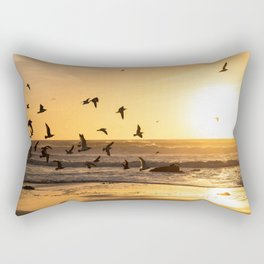 Sunset Photography, Seagulls Flying into the Sunset, California Coast Fine Art Photography, Nature Landscape Art Rectangular Pillow