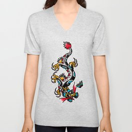 American traditional dragon Unisex V-Neck