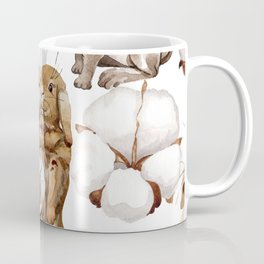 Cotton Flower & Rabbit Pattern 01 Coffee Mug