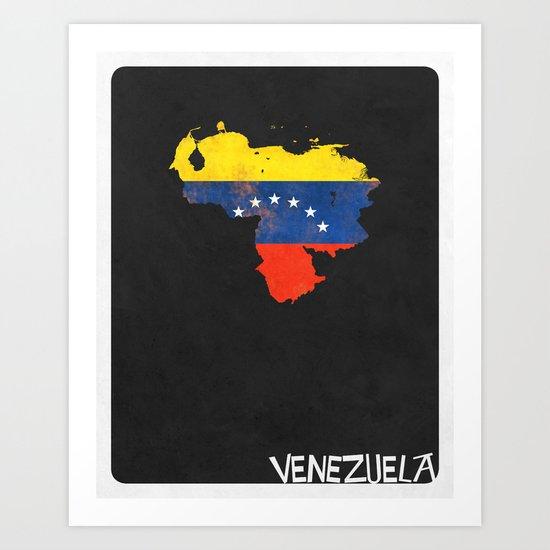 Venezuela Minimalist Vintage Map with Flag Art Print