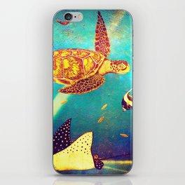 Beautiful Sea Turtles Under The Ocean Painting iPhone Skin