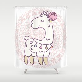 Cute white llama with a flower on its head Shower Curtain