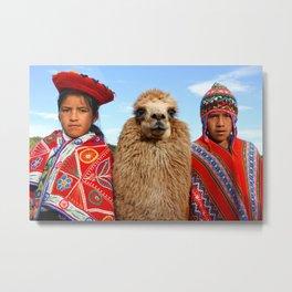 Kids and their lama, Peru Metal Print