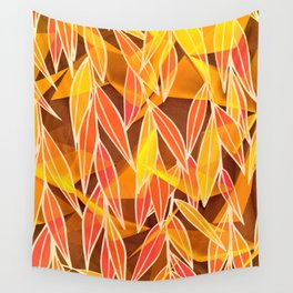 Bright Golden Orange Leaves Floral Print Wall Tapestry