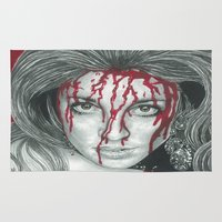 kris tate Area & Throw Rugs featuring Sharon Tate  by Jimmy Lee