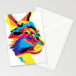 Geomtric Colourful Kitten Digitally Created Stationery Cards