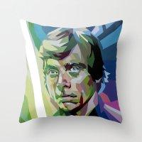luke hemmings Throw Pillows featuring Luke by iankingart
