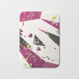 Maroon climbing wall boulders bouldering gym abstract geometric print Bath Mat