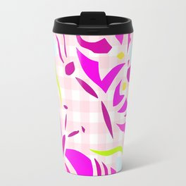 Purple butterfly and flower screen print on gingham Travel Mug
