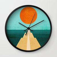 road Wall Clocks featuring The Road Less Traveled by Picomodi
