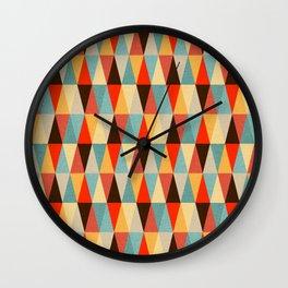 Red & Brown Geometric Triangle Pattern Wall Clock
